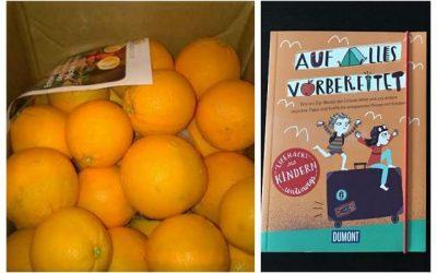 """15kg Kiste Orangen von Citrus Ricus und das Buch """"Auf alles vorbereitet - Lifehacks mit Kindern unterwegs"""""""