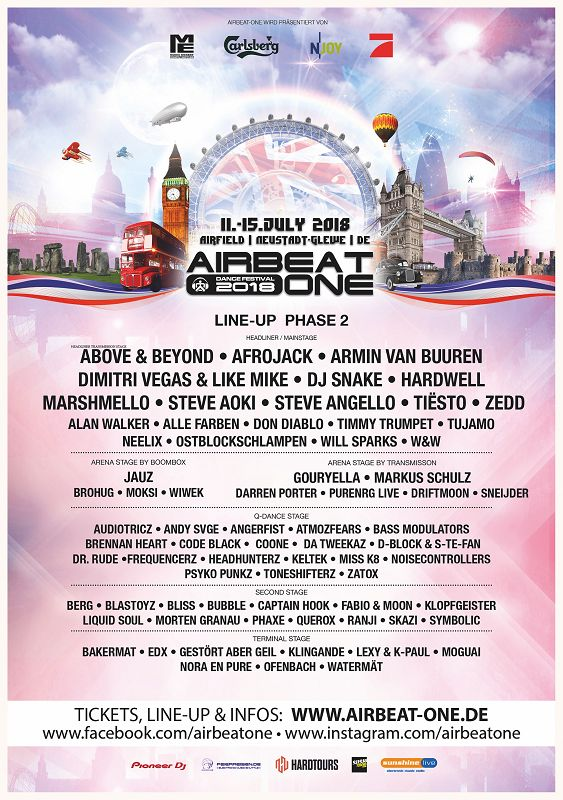 AIRBEAT ONE Dance Festival 2018 Plakat Line Up Phase2 m - AIRBEAT ONE Dance Festival 2018 - Line Up