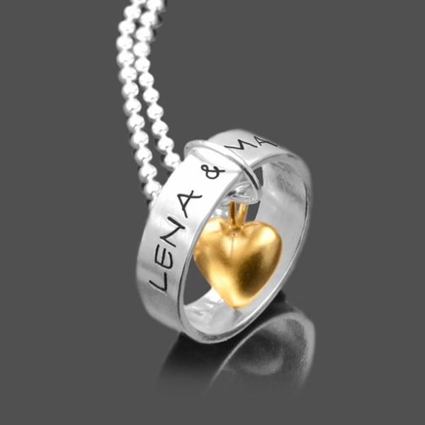 Kette Valentinstag Geschenk Ring Silberkette Gravur Herz 1739 01 - Namensketten als schöne Geschenkidee für Mamas