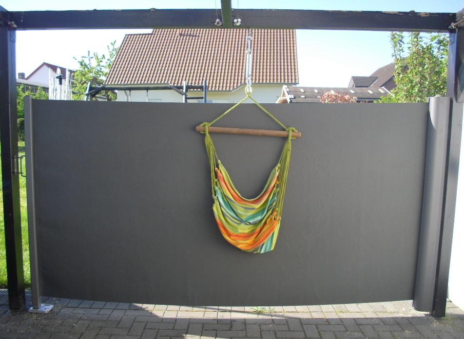 seitenmarkise f r die terrasse von hecht international im test famil s dietestfamilie. Black Bedroom Furniture Sets. Home Design Ideas
